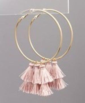 Multi Tassel Dangle Hoops - Dusty Pink