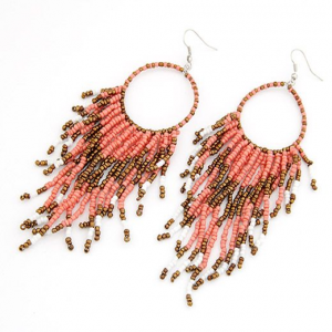Pink Bohemian Beaded Tassel Earrings