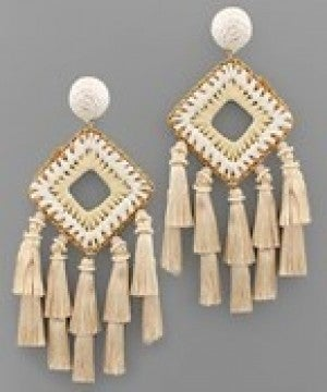 Square & Multi Tassel Earrings