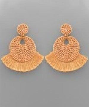 Tassel Trim Seed Bead Disk Earrings - Natural