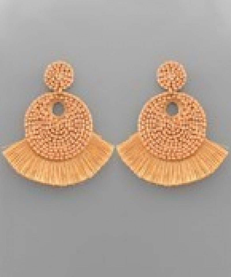Tassel Trim Seed Bead Disk Earrings - Natural