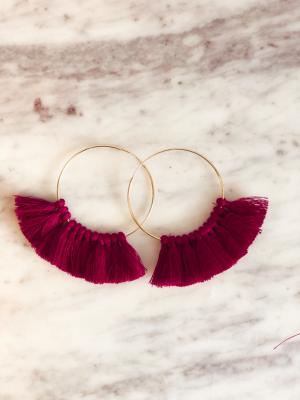 Love, poppy Tassel Hoops - Jewel Purple