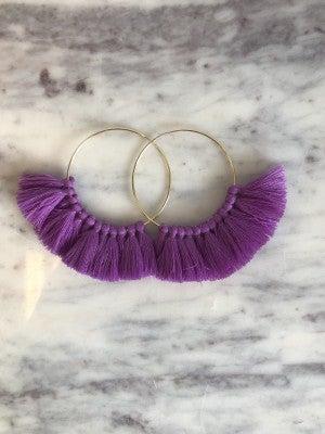 Love, Poppy Tassel Hoops - Purple