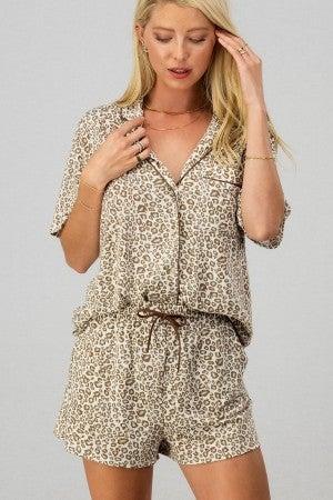 Lazy Leopard Pajama Set
