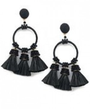 Raffia Tassel & Circle Earrings - Black