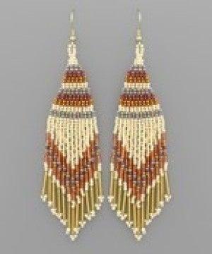 Triangle Bead Tassel Earrings - Beige