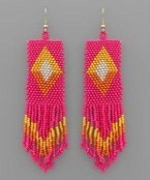 Bead Rectangle Tassel Earrings - Fuchsia