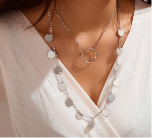 Simple Disc Multilayer Necklace