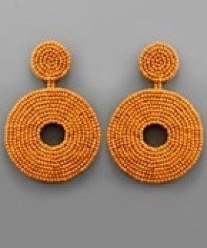 Beaded Wheel Earrings - Light Brown
