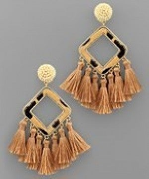 Leopard Square and Tassel Earrings