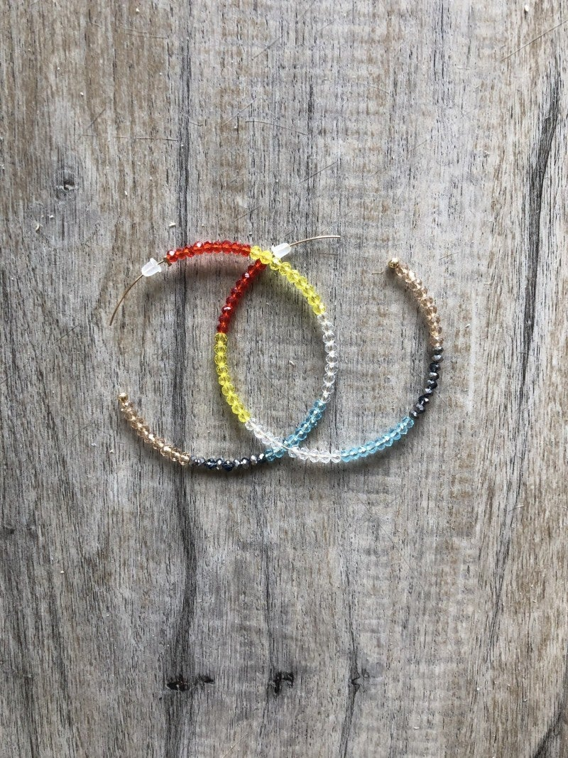 Rainbow Beaded Hoops
