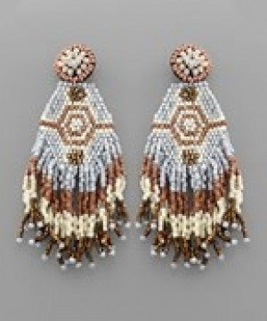 Hexagon Tassel Bead Earrings - Ivory