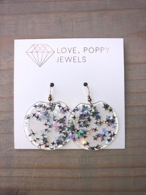 Love, Poppy Clear Star Earrings