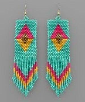 Bead Rectangle Tassel Earrings - Turquoise