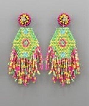 Hexagon Tassel Bead Earrings - Lime
