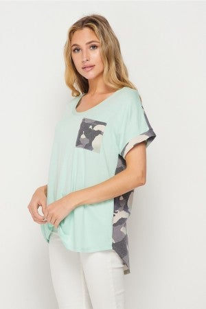 HoneyMe Camo Contrasting Tunic in Mint and Gray
