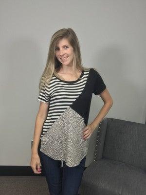 Sew In Love Stripe/Leopard Print Contrast in Black & White