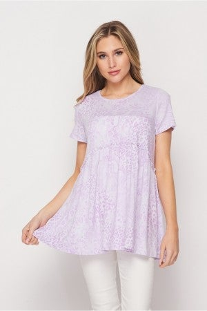 HoneyMe Lavender Leopard Babydoll Top