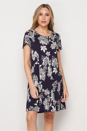 HoneyMe Navy Floral Dress with Pockets
