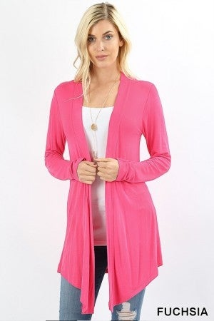 Drapey Open Front Long Sleeve Cardigan in Fuchsia