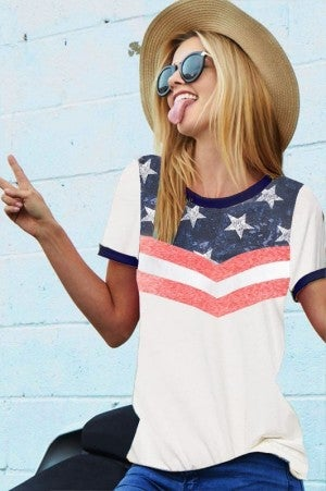 4th of July Star Print Ringer Top