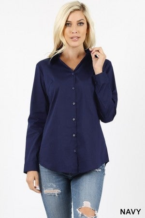 Cotton Long Sleeve Button Up Shirt - True to size