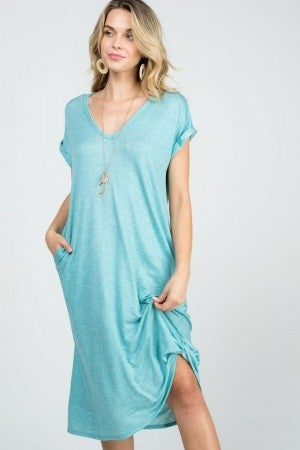 Baby French Terry V-Neck Twist Dress in Mint