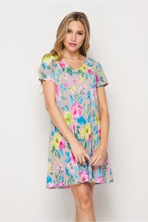 HoneyMe Bright Floral V-Neck Dress with Pockets