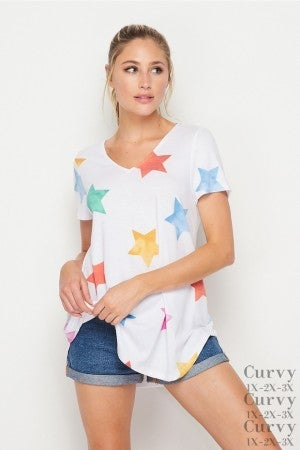 HoneyMe Rainbow Stars V-Neck Top