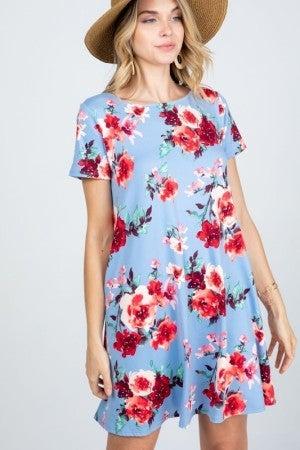 Floral Pocket Dress in Blue