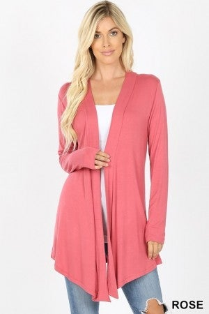 Drapey Open Front Long Sleeve Cardigan in Rose