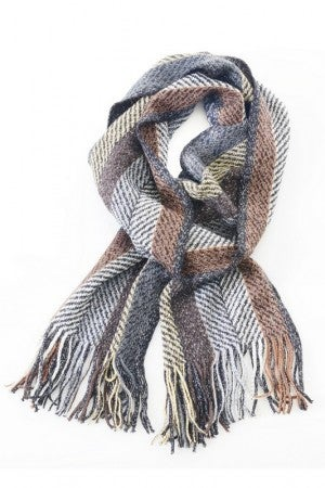 Fringed Oblong Scarf in Cool Toned Winter Plaid