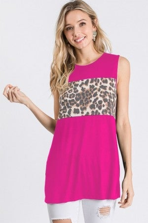 Solid and Leopard Contract Top in Fuchsia