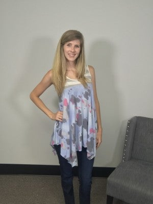 Loose Printed Tank with Contrasting Stripes in White & Gray
