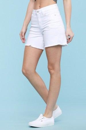 Judy Blue White Judy Blue Mid-Thigh Cut Off Shorts