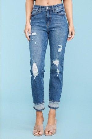 Judy Blue Medium Wash High Waist Insert Hem Jeans