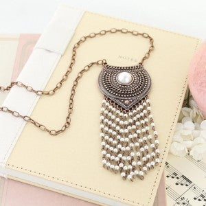 "34"" Copper Shield Necklace w/ Pearl Tassel"