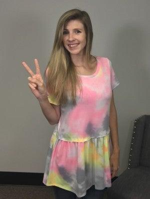 Honeyme Pastel Color Tie Dye Babydoll Top