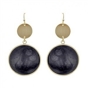 """Gold Circle with Black Epoxy Drop 2"""" Earrings"""