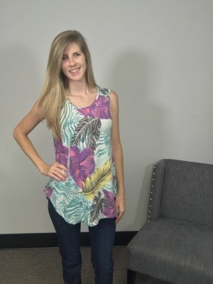 HoneyMe Ivory and Purple Floral Tank