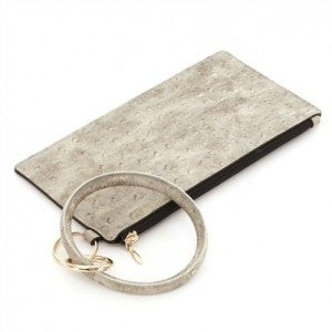 Light Grey Ostrich Skin Key Ring and Wallet