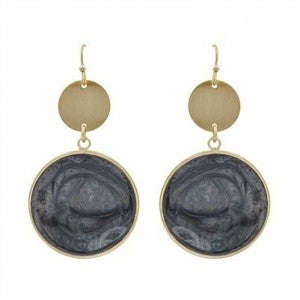 """Gold Circle with Grey Epoxy Drop 2"""" Earrings"""
