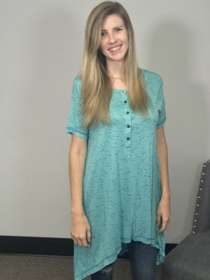 Turquoise Short Sleeve Tunic with Button-down Neck and Rough Sewn Seams