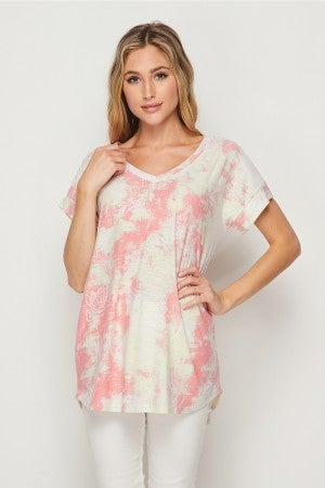 HoneyMe Floral and Tie Dye V-Neck Top in Yellow and Coral