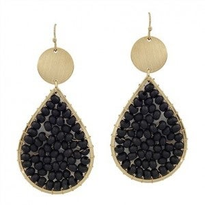 """Black Wood Wired and Gold 2"""" Teardrop Earrings"""