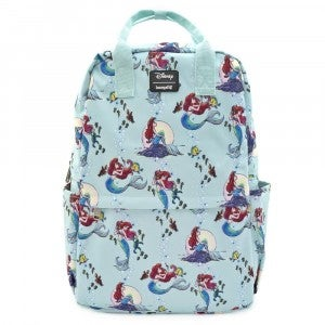 Loungefly Disney The Little Mermaid Ariel Square Nylon AOP Backpack