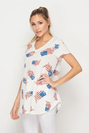 HoneyMe USA Flag Ribbed V-Neck Short Sleeve Top