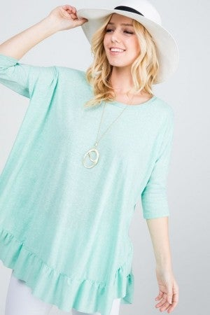 Triblend Fabric Ruffle Top in Mint