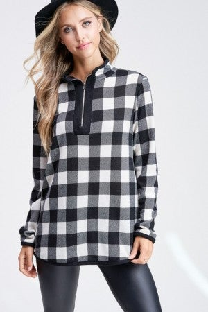 White Birch Ivory Plaid Sweater with Zipper Detail