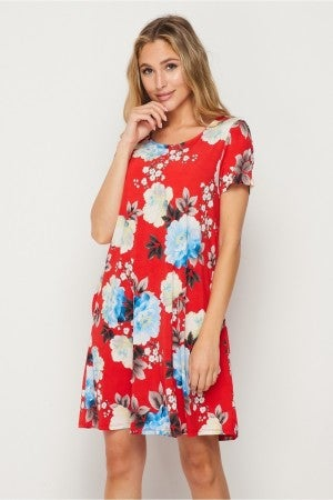 HoneyMe Red, White, and Floral Summer Dress